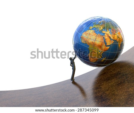 Strength, individuality and leadership concept, business man holds rolling down planet Earth globe on white background (Elements of this image furnished by NASA) - stock photo