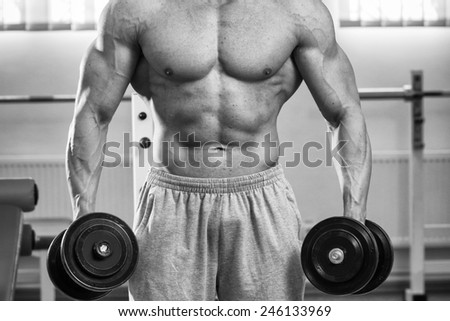 Strength training with dumbbells. Male bodybuilder train in the gym. Strength, power - the concept of individual sports. Arm muscles, triceps, biceps. - stock photo