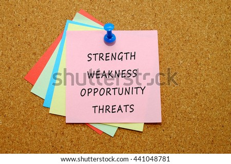 Strength,weakness,opportunity, threats,  written on color sticker notes over cork board background. - stock photo