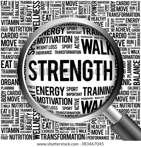 Strength word cloud with magnifying glass, health concept