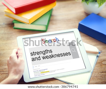 Strengths and Weaknesses Strategy Theory Marketing Concept - stock photo