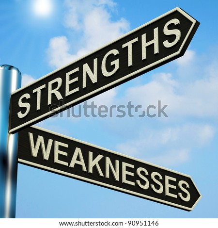 Strengths Or Weaknesses Directions On A Metal Signpost