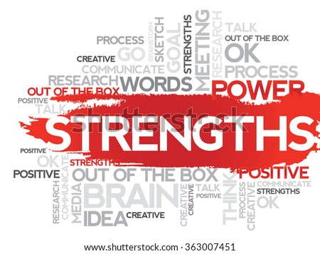 STRENGTHS. Word business collage background