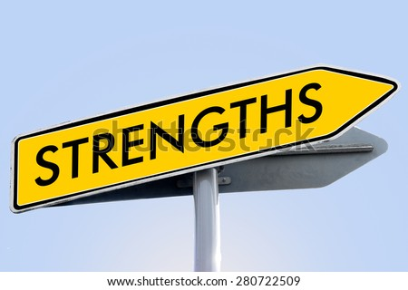 strengths word on yellow roadsign concept - stock photo