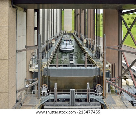Strepy-Thieu boat lift on the Canal du Centre in municipality Le Roeulx, Walloon, Belgium during lifting of a boat - stock photo