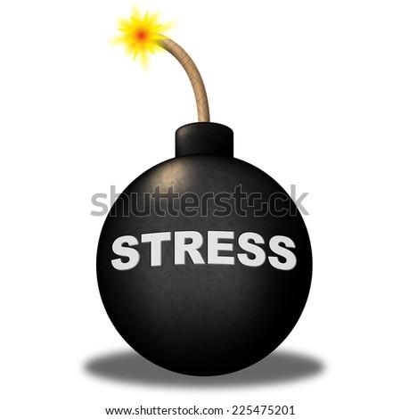 Stress Alert Indicating Advisory Overload And Bomb - stock photo