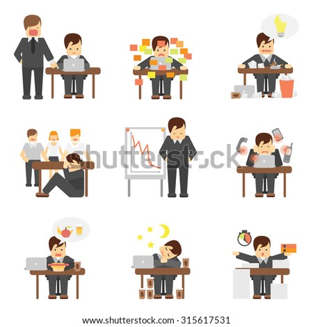 Stress at work dropping results graphic angry boss cartoon characters flat icons set abstract isolated  illustration - stock photo