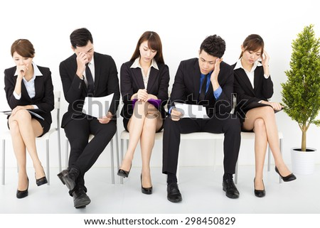 stress business people waiting for interview - stock photo