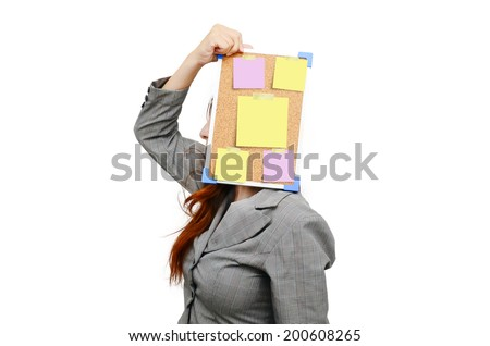 Stress business woman with message note isolated on white. - stock photo