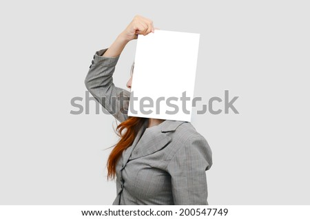 Stress business woman with white blank board - stock photo