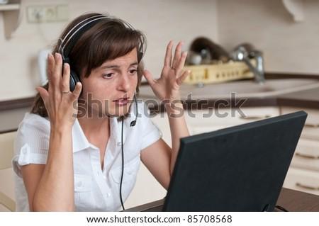 Stress - bussy working woman - stock photo