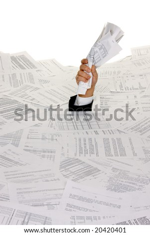 Stress by bureaucracy and paper filing - stock photo