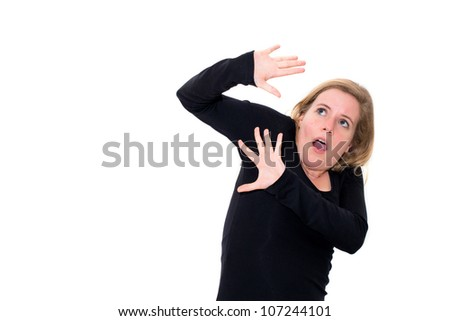 stress caucasian woman on white background - stock photo