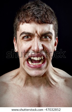 Stress concept - angry furious one mad man - stock photo