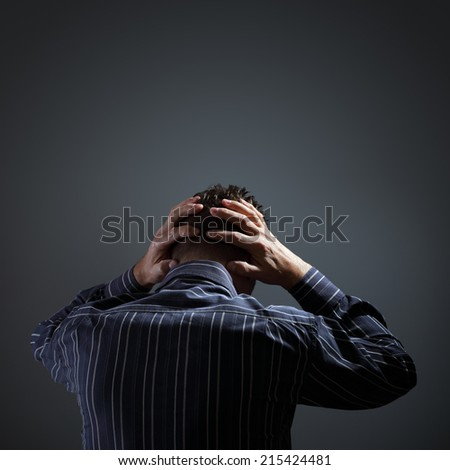 Stress, depression and despair or mental illness concept space for text - stock photo