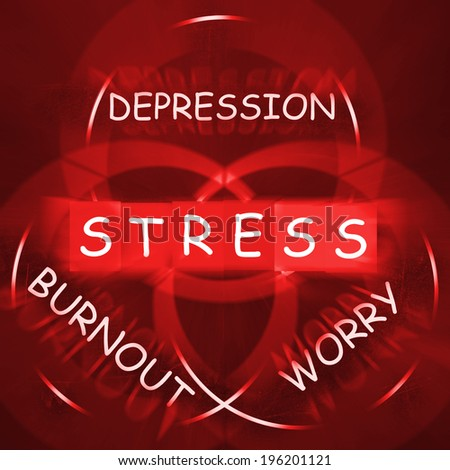 Stress Depression Worry and Anxiety Displaying Burnout - stock photo