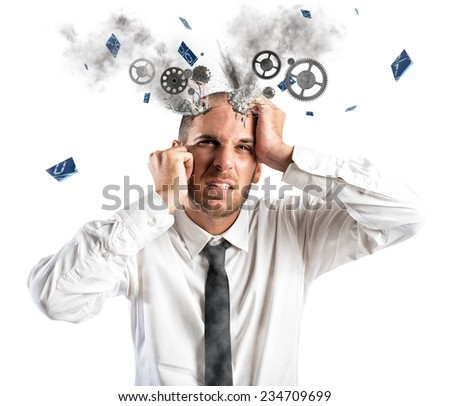 Stress explosion concept with exhausted businessman