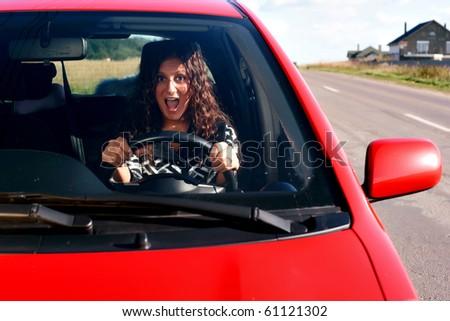stress girl in a car - stock photo