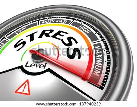 stress level conceptual meter indicating maximum, isolated on white background - stock photo