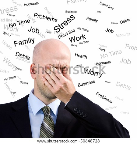 Stress Man. Businessman  suffers from a headache - stock photo