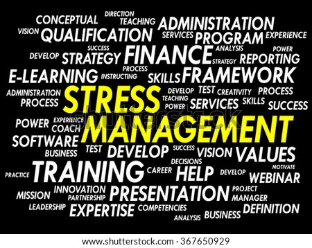 Stress Management word cloud, business concept presentation background - stock photo