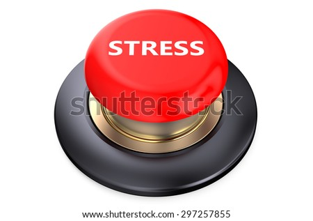 Stress Red Button  isolated on white background - stock photo