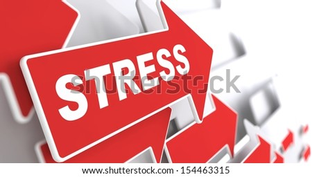 "Stress. Social Concept. Red Arrow with ""Stress"" Slogan on a Grey Background. 3D Render."