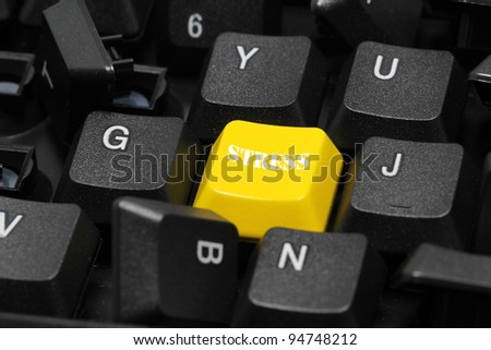 stress word on yellow and black keyboard button - stock photo
