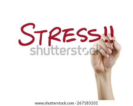 stress word written by hand on a transparent board - stock photo