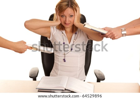 Stress - young business woman with too much work and under pressure and mobbing - stock photo