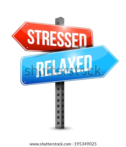 stressed and relaxed signs illustration design over a white background