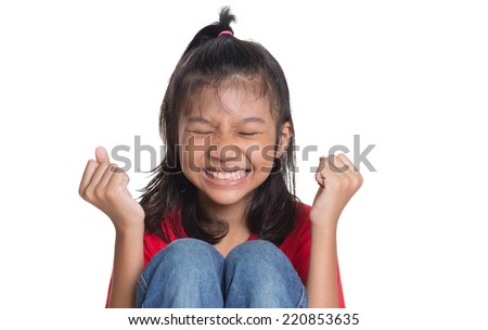 Stressed and screaming young Asian girl over white background - stock photo