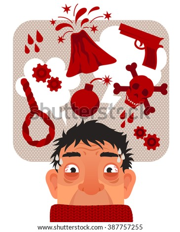 stressed anxious man thinking fearful thoughts - stock photo