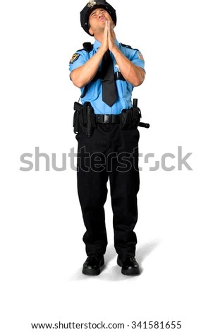 Stressed Asian man with short black hair in uniform begging - Isolated