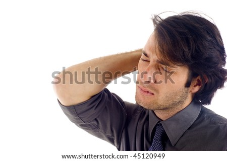 Stressed business man isolated over white background