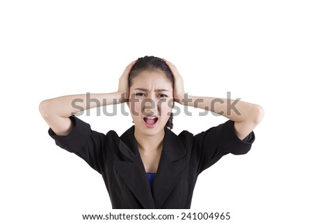 Stressed business woman is going crazy - stock photo