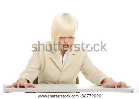 Stressed business woman isolated on white background