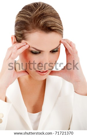 Stressed business woman - isolated over a white background - stock photo