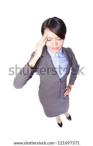 Stressed business woman with a headache in full length isolated over a white background, high angle view, asian beauty model