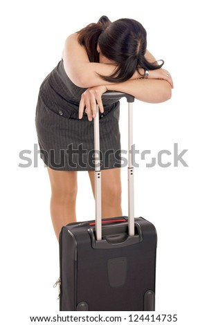 stressed business woman with suitcase / stressed woman - stock photo
