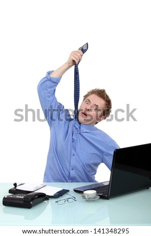 Stressed businessman - stock photo