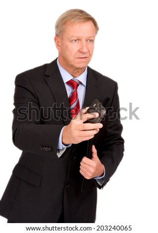 Stressed businessman on the fly - stock photo