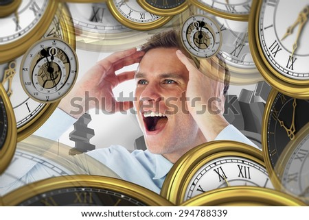 Stressed businessman shouting against white background with vignette