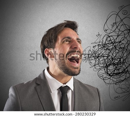 Stressed businessman stressed out from work screams - stock photo