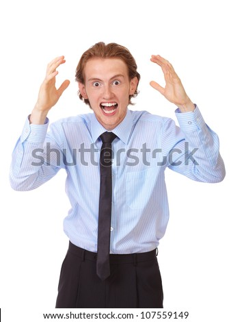 Stressed businessman tear his hair out, crazy face expression, isolated on white - stock photo