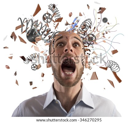 Stressed businessman with broken mechanism head screams - stock photo