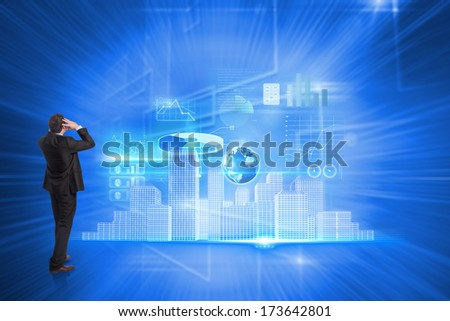 Stressed businessman with hands on head against glowing background with squares
