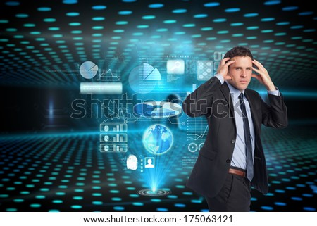 Stressed businessman with hands on head against keyhole on technological glowing background