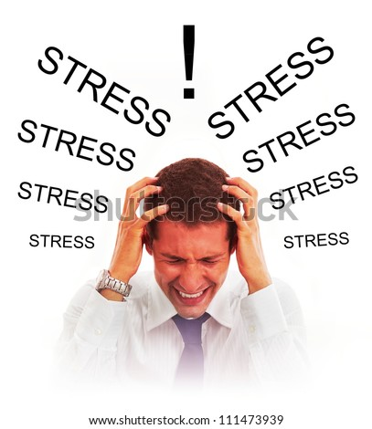 Stressed businessman with headache - stock photo