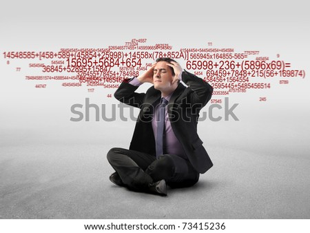 Stressed businessman with number sequences on the background - stock photo